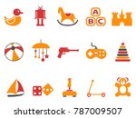 orange and red color toy icons... | Shutterstock .eps vector #787009507