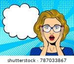 pop art surprised female face... | Shutterstock .eps vector #787033867