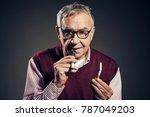 portrait of senior man who is... | Shutterstock . vector #787049203