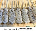 raw shrimp barbecue on the... | Shutterstock . vector #787058773