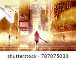 a man holding club weapon and...   Shutterstock . vector #787075033