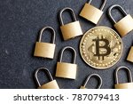 bitcoin security concept. gold...