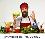 chef prepares meal showing ok... | Shutterstock . vector #787083013