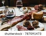 italian tuscan wooden table...   Shutterstock . vector #787091473