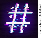 hashtag or number sign on dark... | Shutterstock .eps vector #787093963