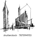 hand drawn architectural sketch ... | Shutterstock .eps vector #787094953