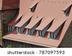 roof with dormer windows on a... | Shutterstock . vector #787097593