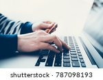 businesswoman hands holding... | Shutterstock . vector #787098193