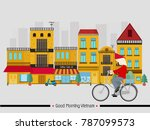 vietnamese man and bicycle | Shutterstock .eps vector #787099573