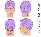 turban or shower cap outlined... | Shutterstock .eps vector #787107607