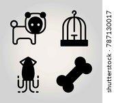 animals vector icon set. squid  ... | Shutterstock .eps vector #787130017