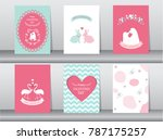 set of valentine's day card on... | Shutterstock .eps vector #787175257