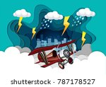 plane was flying in the sky in... | Shutterstock .eps vector #787178527