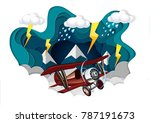 plane was flying in the sky in... | Shutterstock .eps vector #787191673