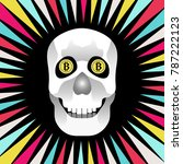 a smiling skull with bitcoins... | Shutterstock .eps vector #787222123