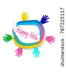 happy holi greeting card | Shutterstock .eps vector #787225117