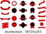 set of black and red labels ... | Shutterstock .eps vector #787241353