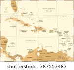 the caribbean map   vintage... | Shutterstock .eps vector #787257487