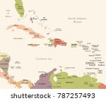 the caribbean map   vintage... | Shutterstock .eps vector #787257493