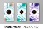leaflet with green and purple... | Shutterstock .eps vector #787273717