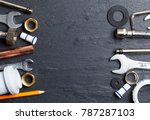 plumbing concept. tools and... | Shutterstock . vector #787287103