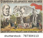 Small photo of Poster for P.T. Barnum & Co.s, GREATEST SHOW ON EARTH, 1888 with Great Jumbos Skeleton. From 1882-85, Jumbo was the Circus star, until killed in a train accident in Sept. 1885. Thereafter Jumbo appear