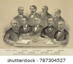 Small photo of President Benjamin Harrison and his cabinet, c. 1889. Seated, L-R: President Harrison; William Windom, Treasury; John Wanamaker, Postmaster; Redfield Proctor, War; James Blaine, State. Standing, L-R: