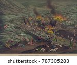 burning debris blocked by the... | Shutterstock . vector #787305283