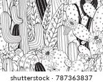 black and white doodle seamless ... | Shutterstock .eps vector #787363837