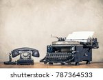 retro old black telephone and... | Shutterstock . vector #787364533