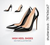 high heels shoes set. vector... | Shutterstock .eps vector #787436167