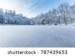 Bright Winter Scene Of Frozen...