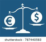 euro and dollar on scales  | Shutterstock .eps vector #787440583