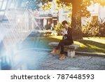 happy sweet brazilian girl is... | Shutterstock . vector #787448593