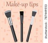professional makeup brushes kit.... | Shutterstock .eps vector #787449553