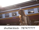 young female traveller or asian ... | Shutterstock . vector #787477777