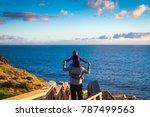 father giving his son piggyback ... | Shutterstock . vector #787499563