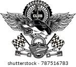 vintage wolf motorcycle label | Shutterstock . vector #787516783