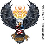american eagle and skull | Shutterstock . vector #787517437