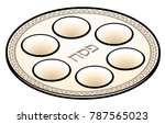 a passover seder plate. | Shutterstock .eps vector #787565023