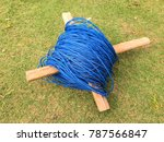coil nylon blue rope with cross ... | Shutterstock . vector #787566847
