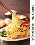fried chinese noodles and... | Shutterstock . vector #787580857