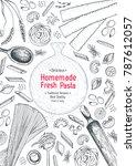 italian pasta top view frame.... | Shutterstock .eps vector #787612057