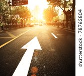 road in city with sunset | Shutterstock . vector #78763804