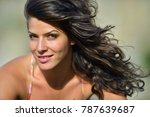 young smiling woman outdoor in... | Shutterstock . vector #787639687