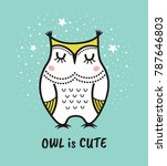 cute hand drawn owl with quote. ... | Shutterstock .eps vector #787646803