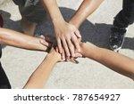 close up young men cheering | Shutterstock . vector #787654927