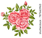 beautiful bouquet of pink roses ...   Shutterstock .eps vector #787663963