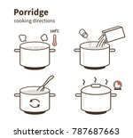 steps how to cook porridge. ... | Shutterstock .eps vector #787687663