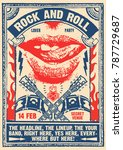 rock and roll party lover... | Shutterstock .eps vector #787729687